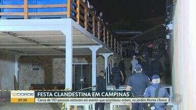 Festa clandestina reúne cerca de 150 pessoas e gera aglomeração em Campinas - Evento aconteceu na noite de domingo (16), no bairro Jardim Monte Líbano. Guarda Municipal (GM) foi acionada para dispersar participantes.
