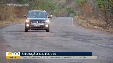 Motoristas pedem a reconstrução da rodovia TO-020 - Motoristas pedem a reconstrução da rodovia TO-020
