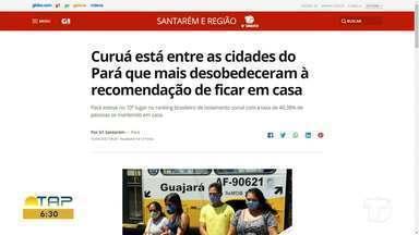 Índice de isolamento social no domingo é notícia em destaque no G1 Santarém e região - Acesse a reportagem completa no g1.com.br/tvtapajos
