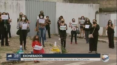 Servidores da educação protestam após exoneração em Três Corações (MG) - Servidores da educação protestam após exoneração em Três Corações (MG)