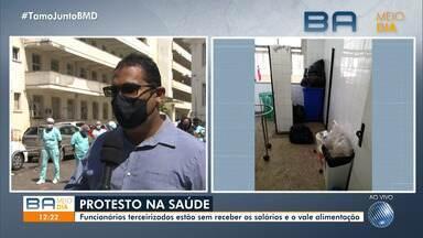 Funcionários da saúde reivindicam salários e vale alimentação em Salvador - Eles são terceirizados do Hospital das Clínicas e Maternidade Climério de Oliveira.