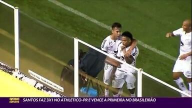 Santos vence a primeira no Brasileirão: 3 a 1 no Athletico-PR - Santos vence a primeira no Brasileirão: 3 a 1 no Athletico-PR