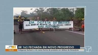 Indígenas fecham BR-163, em Novo Progresso, como protesto em defesa da Amazônia - Eles reivindicam diversas questões; veja na reportagem.