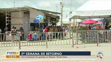 Feira da Sulanca, em Caruaru, segue com protocolos de segurança nesta segunda (17) - Área tem acesso controlado e fiscalização das medidas de prevenção à Covid-19.