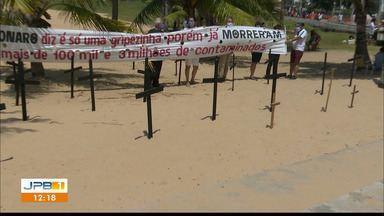 Paraíba tem 96.033 casos confirmados e 2.162 mortes por coronavírus - Protesto pelas vidas perdidas durante a pandemia é feito em praia de João Pessoa.