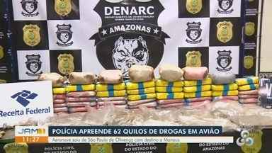 Avião bimotor é apreendido no AM com mais de 60 kg de drogas - Substâncias ilícitas foram encontradas dentro de cilindros de oxigênio.