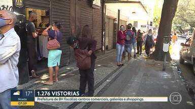 Prefeitura de BH fiscaliza centros comerciais, galerias e shoppings - Cerca de 100 lojas foram flagradas funcionando irregularmente.