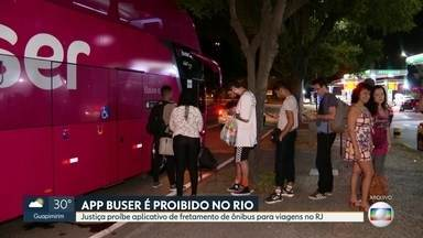 Justiça proíbe o funcionamento do aplicativo Buser - A justiça proibiu o aplicativo de fretamento de ônibus para viagens em todo o estado do Rio.