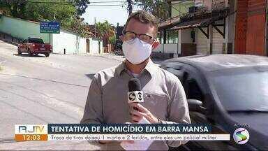 Policial militar é vítima de tentativa de homicídio em Barra Mansa - Ação terminou com um suspeito morto e outro ferido. Crime aconteceu no bairro Mangueira.
