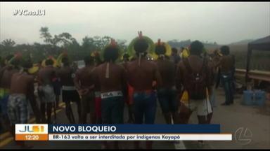 Indígenas Kaiapós mantém interdição na BR-163 pelo terceiro dia - Indígenas Kaiapós mantém interdição na BR-163 pelo terceiro dia