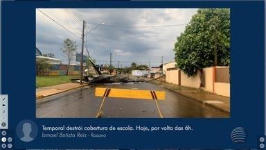 Temporal e chuva de granizo causam estragos em municípios do Pontal do Paranapanema - Foram registrados queda de árvores, destelhamentos e queda de placas nesta quarta-feira (19).