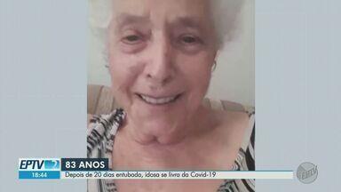 Aos 83 anos, dona Maria Aparecida celebra cura da Covid-19 em Ribeirão Preto, SP - Ela superou as comorbidades, 20 de UTI e, agora, aproveita a família em casa.