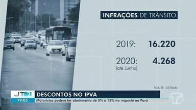 Motoristas podem ter abatimento de 5% a 15% no IPVA no PA - Sem infrações de trânsito.