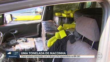 Um tonelada de maconha foi apreendida na capital - Carro estava carregado com a droga e foi apreendido na BR-381.