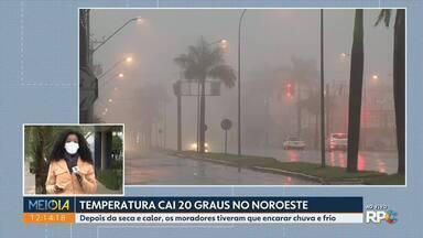 Depois da seca e calor, os moradores do noroeste tiveram que encarar chuva e frio - Temperatura caiu 20 graus no noroeste.