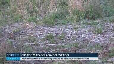Palmas registra a menor temperatura do Paraná - Os termômetros marcaram quase quatro graus negativos, mas a sensação térmica foi muito menor.