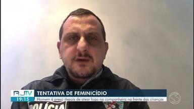 Homem é preso suspeito de atear fogo na companheira em Resende - Segundo a Polícia Civil, ele foi localizado no bairro Cidade Alegria e levado para a delegacia.