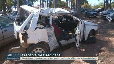 Empresário embriagado e com CNH vencida mata mãe e filho em batida de carro em Piracicaba - Homem de 36 foi indiciado por homicídio culposo e teve a prisão convertida em preventiva. Vítimas tinham 26 e 52 anos.