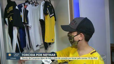 Garoto de Campinas deixa de lado o time do coração pra torcer pelo camisa 10 do PSG - Murilo Matos, de 12 anos, torce para o Santos, mas idolatria pelo Neymar falou mais alto no domingo (23).
