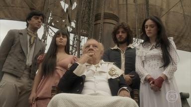 Millman se despede dos filhos e volta para a Inglaterra - Joaquim dá um amuleto para proteger o pai de Anna