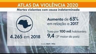 Mortes violentas por causa indeterminada aumentam em São Paulo - A taxa de mortes violentas com causa indeterminada em São Paulo, de 9,4 por 100 mil habitantes, chega ser maior que a taxa de homicídios, que foi de 8,2.