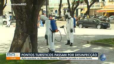 Pontos turísticos de Salvador passam por ação de desinfecção para retomada de atividades - Locais estão sendo limpos com substância que não agride os monumentos históricos ou a saúde das pessoas.