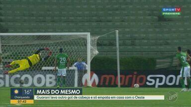 Em jogo decidido na bola parada, Guarani e Oeste empatam pela Série B - Lucas Crispim fez golaço de falta e Sidimar descontou de cabeça, após cobrança de escanteio. Placar final foi um a um.