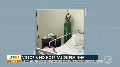 Hospital de Campanha de Prainha é vistoriado pelo MPPA, que acompanha serviços da unidade - Procedimento foi instaurado para acompanhar a prestação do serviço de ambulatório e internação. Unidade iniciou os atendimentos em abril.