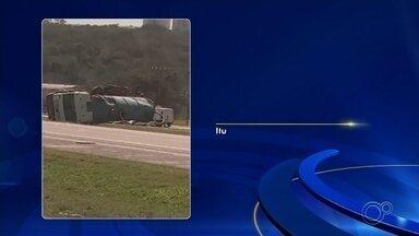 Caminhão com resíduos sanitários tomba em rodovia de Itu - Um caminhão carregado de resíduos sanitários tombou nesta terça-feira (1º) na rodovia SP-75 em Itu (SP), no quilômetro 28. Ninguém se feriu.