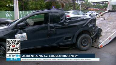 Acidente deixa feridos na Avenida Constantino Nery - Atropelamento e batida de carro e moto deixaram feridos e atrapalharam trânsito