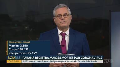 Paraná registra mais 54 mortes por coronavírus - 2.022 novos casos foram divulgados pela Secretaria Estadual de Saúde.