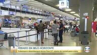 Embarques e desembarques devem ficar 57% abaixo do normal para a data em BH - Este é o primeiro feriado prolongado após a reabertura do comércio em Belo Horizonte.