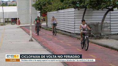 Bicicletas voltam a ter espaço especial em Vitória nos domingos e feriados das 7h às 15h - Asssista a seguir.