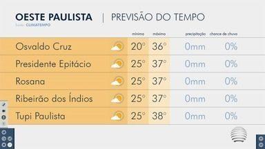 Confira a previsão do tempo neste sábado na região de Presidente Prudente - Veja como ficam as temperaturas nas cidades do Oeste Paulista.