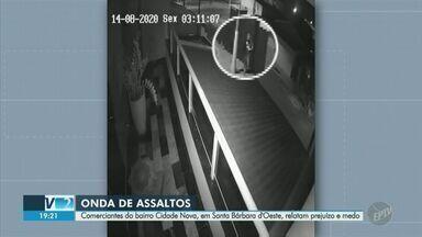 Comerciantes de Santa Bárbara d'Oeste relatam preocupação com onda de assaltos na cidade - Um dos bairros afetados com os roubos é o Cidade Nova. Secretaria de Segurança Pública diz que policiais civis e militares fazem operações frequentes para inibir os crimes.