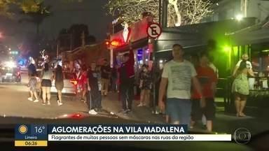 Vila Madalena registra bares cheios no domingo à noite - Pessoas desrespeitaram o uso de máscaras e teve aglomeração.