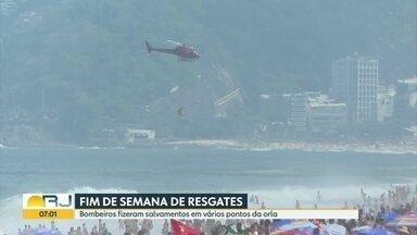 Fim de semana de resgates nas praias - Bombeiros fizeram salvamentos em vários pontos da orla
