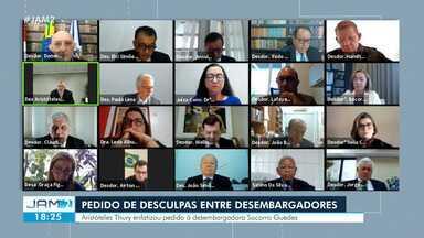 Sessão do TJAM tem pedido de desculpas entre desembargadores - Aristóteles Thury enfatizou pedido à desembargadora Socorro Guedes
