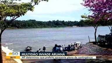 Justiça determina que prefeitura de Aruanã apresente plano de contingência - Medida foi exigida após turistas lotarem praias e desrespeitarem regras de saúde durante a pandemia.