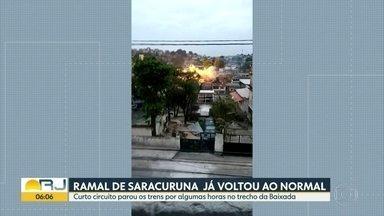 O ramal de trem de Saracuruna está funcionando normalmente - As viagens entre Gramacho e Saracuruna ficaram suspensas por seis horas, nessa terça-feira, por causa de um incêndio na rede aérea da Supervia, provocado por um curti circuito