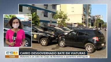 Cabo dos Bombeiros com sinais de embriaguez bate em viaturas da polícia em Vitória - Veja na reportagem.
