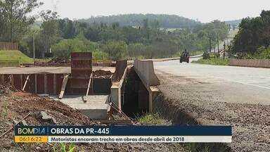 Obras na PR-445 - Motoristas encaram trecho em obras desde abril de 2018.