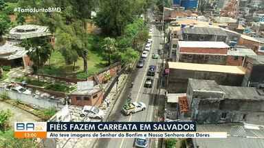 Devotos participam de carreata com imagens de Senhor do Bonfim e Nossa Senhora das Dores - Celebração de fé ocorreu na manhã desta segunda (14), em Salvador.