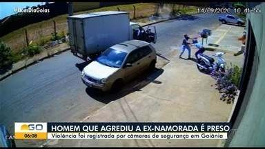 Jovem filmado descumprindo medida protetiva e agredindo ex-mulher é preso, em Goiânia - Polícia Civil cumpriu mandado de prisão cautelar contra o suspeito, de 25 anos. Imagens mostram quando ele joga a mulher contra um portão, depois ao chão e a arremessa na rua.