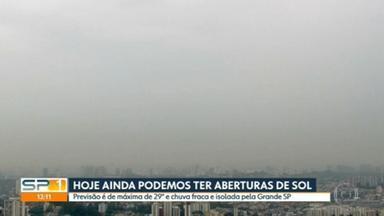 Veja como fica o tempo na tarde desta sexta (18), em São Paulo - Sol pode aparecer em São Paulo, mas ainda tem possibilidade de chuva fraca e isolada. A temperatura máxima prevista é de 29ºC.