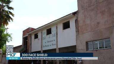 Rotary e Dello doam máscaras para o Hospital São José em Ituiutaba - Cerca de 300 materiais de proteção foram entregues na instituição; modelo é conhecido como protetor facial e é utilizado por profissionais da saúde.
