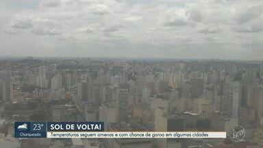 Temperaturas seguem amenas e com chance de garoa em algumas cidades da região - A máxima prevista em Campinas (SP) é de 21ºC nesta quarta-feira (23).