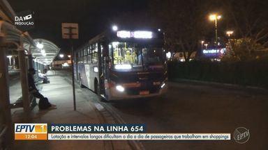 Passageiros reclamam de superlotação em linha de ônibus entre Campinas e Sumaré - Usuários da linha intermunicipal 654 fizeram abaixo assinado em busca de solução do problema.