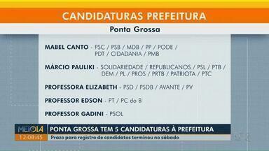 Ponta Grossa tem cinco candidaturas para prefeitura - Para vagas de vereador, há 456 candidatos.