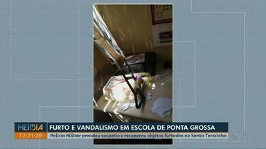 Polícia prende suspeito de furtar escola em Ponta Grossa - Com ele, policiais encontraram objetos furtados da instituição.